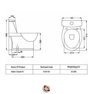 نقشه توالت فرنگی مروارید ورونا
